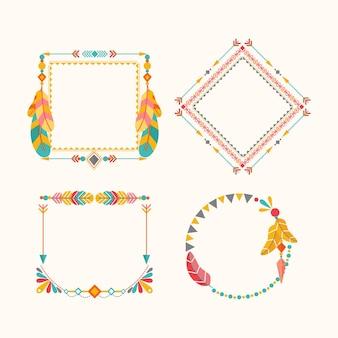 Colección de marcos de diseño plano boho