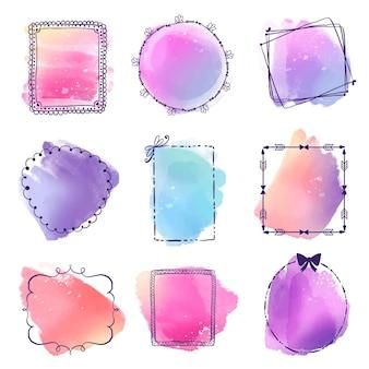 Colección de marcos de doodle de acuarela pintados a mano