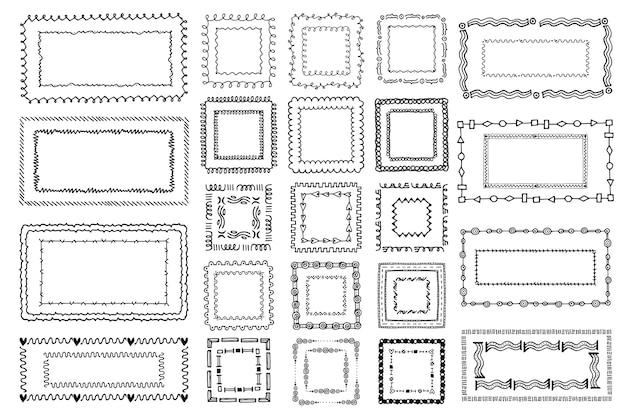 Colección de marcos de doodle dibujados a mano de grabado