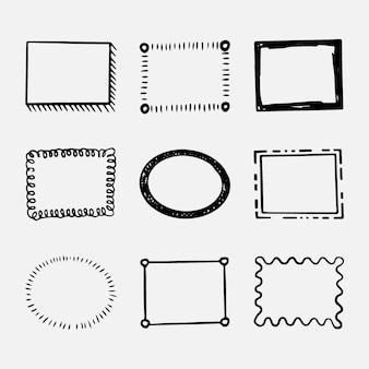 Colección marcos doodle dibujados a mano