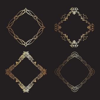 Colección de marcos dorados decorativos.