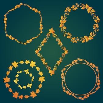 Colección de marcos dorados con hojas de otoño
