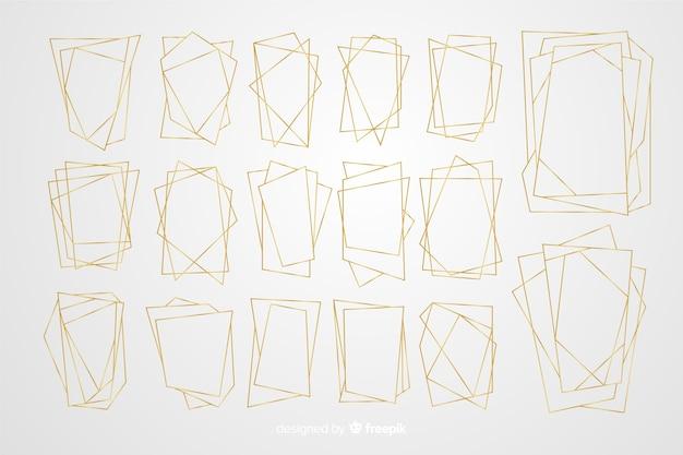 Colección de marcos dorados poligonales