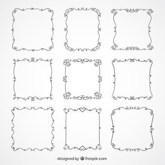 Colección de marcos elegantes con detalles florales