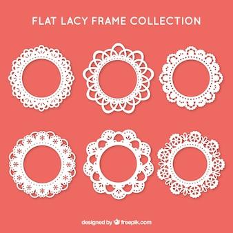 Colección de marcos de encaje en diseño plano