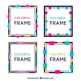 Colección de marcos en estilo colorido