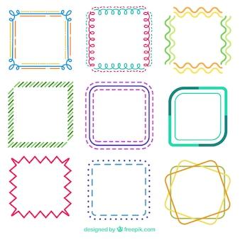 Colección de marcos con estilo lineal