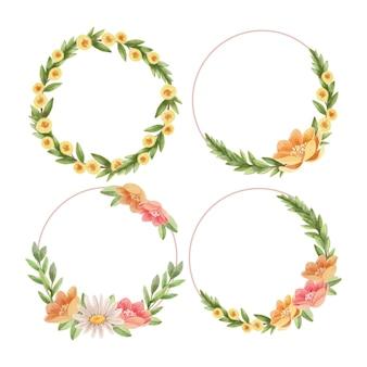 Colección de marcos florales de acuarela pintados a mano