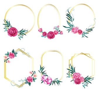 Colección de marcos florales en acuarela