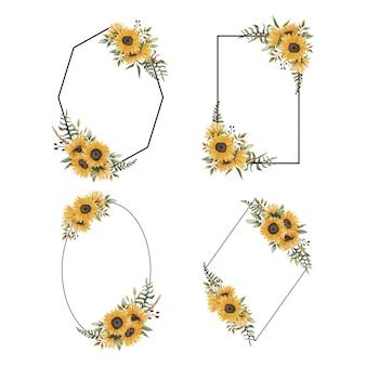 Colección de marcos florales con adornos de ramo de girasol en acuarela