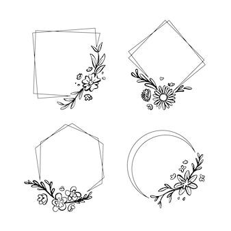 Colección de marcos florales dibujados a mano