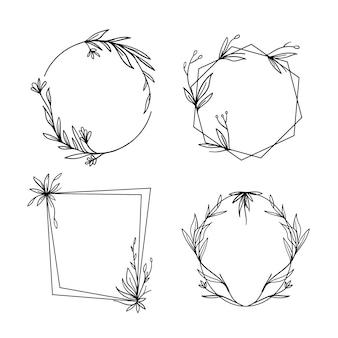 Colección de marcos florales dibujados