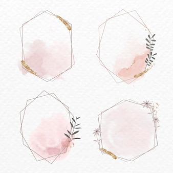 Colección de marcos florales geométricos