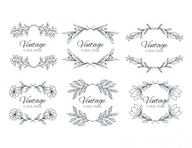 Colección de marcos de flores en estilo clásico