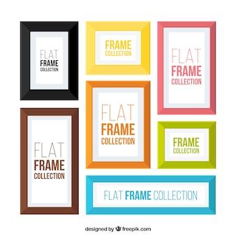 Colección de marcos de fotos de colores en diseño plano