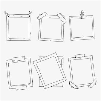 Colección de marcos de fotos dibujados a mano