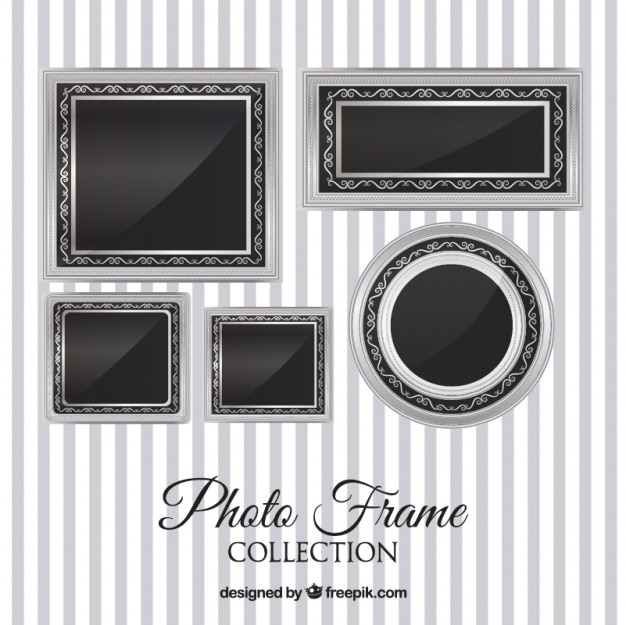 Colección de marcos de fotos plateados