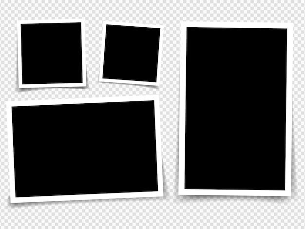 Colección de marcos de fotos vectoriales en blanco con efectos de sombra aislados sobre fondo blanco