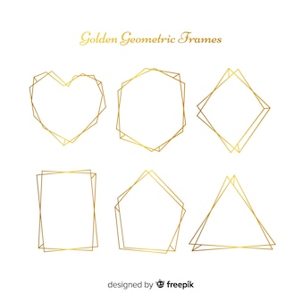Colección de marcos geométricos dorados