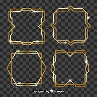 Colección marcos geométricos dorados