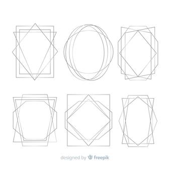 Colección de marcos geométricos plateados