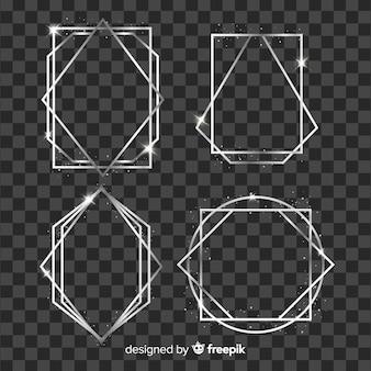 Colección marcos geométricos plateados