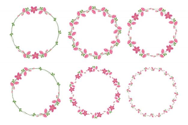 Colección de marcos de guirnalda de flores rosadas de estilo plano lindo para el día de san valentín