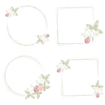 Colección de marcos de guirnaldas de fresas silvestres dibujadas a mano de acuarela mínima
