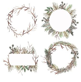 Colección de marcos de hojas de acuarela