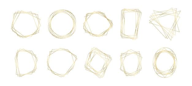 Colección de marcos de lujo geométricos poligonales dorados.
