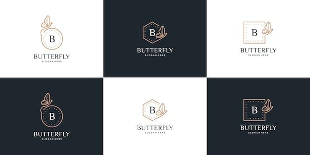 Colección de marcos de mariposas, diseño de logotipo de mariposa letra b