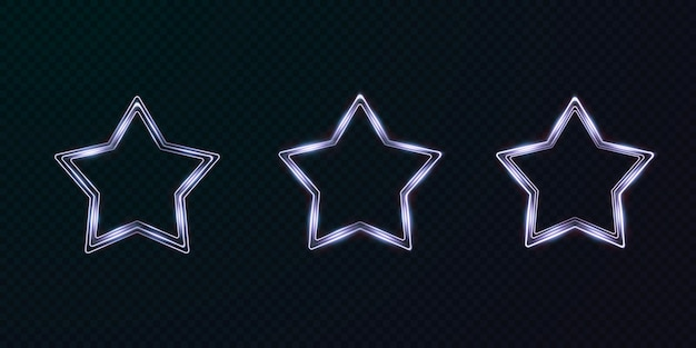 Colección de marcos de neón de estrellas de luz.