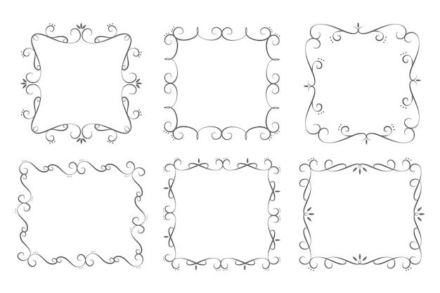 Colección de marcos ornamentales dibujados a mano