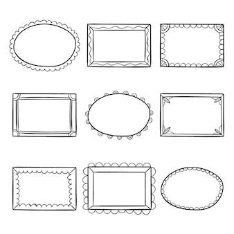 Colección de marcos ornamentales dibujados