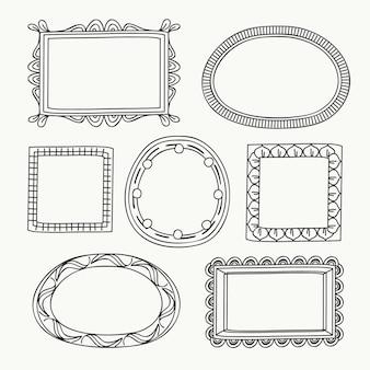 Colección de marcos ornamentales doodle