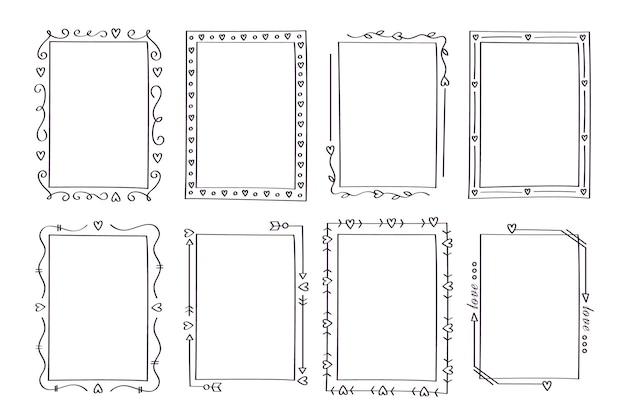Colección de marcos ornamentales verticales dibujados a mano