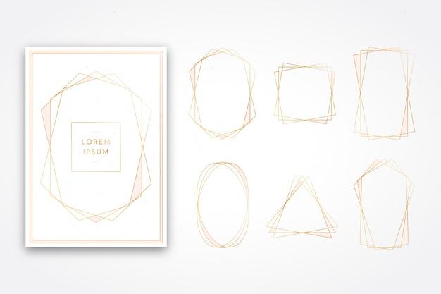 Colección de marcos poligonales dorados brillantes