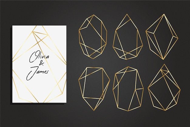 Colección de marcos poligonales dorados estilo elegante