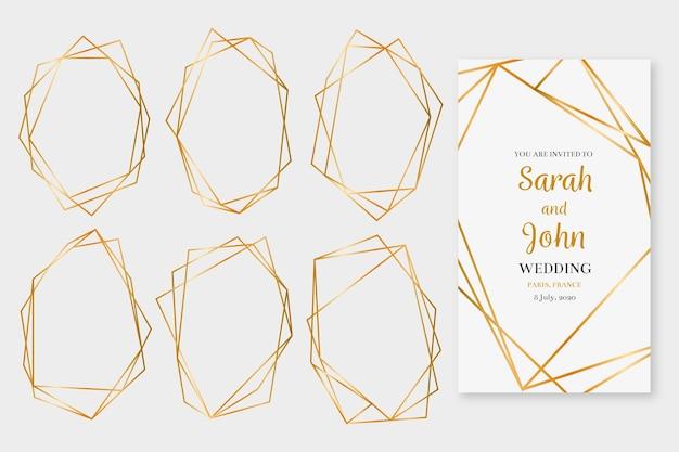 Colección de marcos poligonales dorados relucientes
