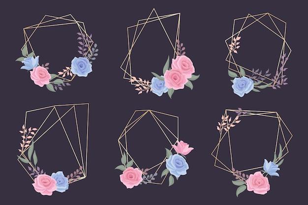 Colección de marcos poligonales dorados con tema floral