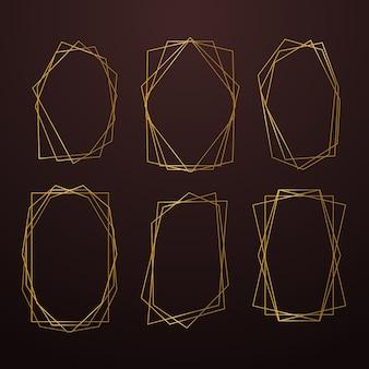 Colección de marcos poligonales dorados en tonos marrones