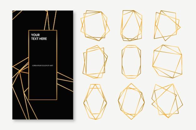 Colección de marcos poligonales dorados