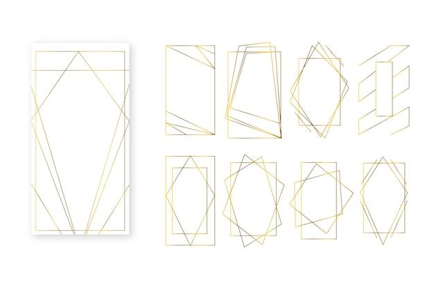 Colección de marcos poligonales simplistas dorados