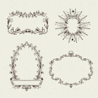 Colección de marcos realistas en estilo vintage