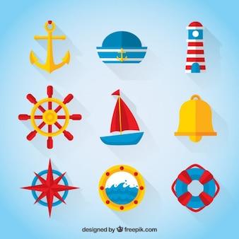 Colección marinera en colores y diseño plano