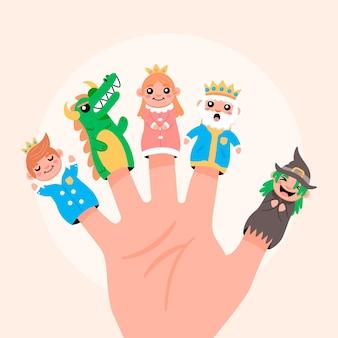 Colección de marionetas de dedo dibujadas a mano