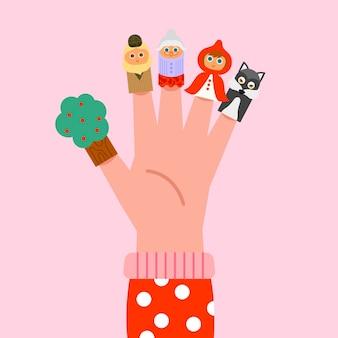 Colección de marionetas de dedo planas orgánicas
