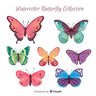 Colección de mariposas en acuarela