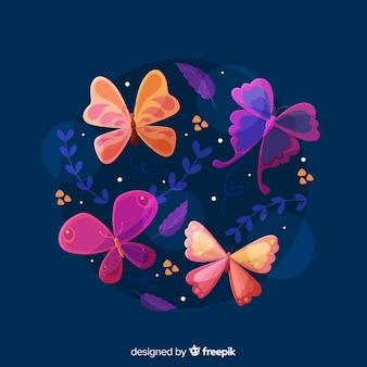 Colección mariposas coloridas