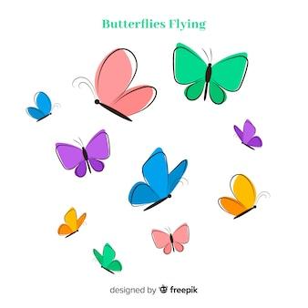 Colección mariposas dibujadas a mano